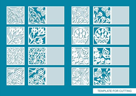 Collection of cards with a floral pattern, flowers, leaves, butterflies, dragonflies, carved out of paper. Place for text and congratulations (copy space). Vector template for plotter laser cutting.