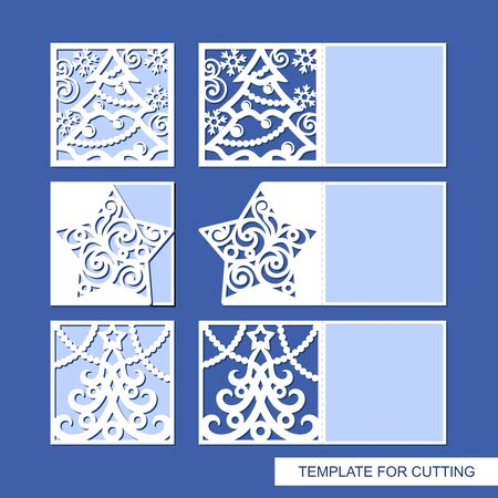 Set of New Year's greeting cards, folding in half, with a carved Christmas tree, star, snowflakes, garlands. Place for text (copy space). Template for plotter laser cutting paper. Vector illustration.