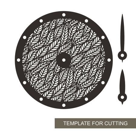 Round wall clock with openwork leaf ornament in the middle. Vector silhouette of the dial, hour and minute hands, without numbers. Sample for laser plotter cutting of paper, cardboard, plywood, wood.