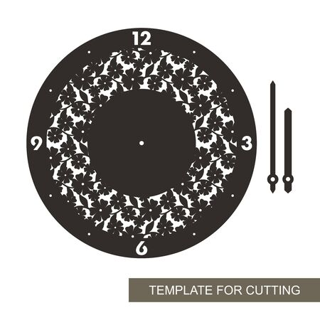 Round wall clock with an openwork pattern of flowers and leaves in the middle. Black dial, arabic numerals, minute and hour hands. Vector template for laser cutting of paper, cardboard, plywood, wood. 矢量图像