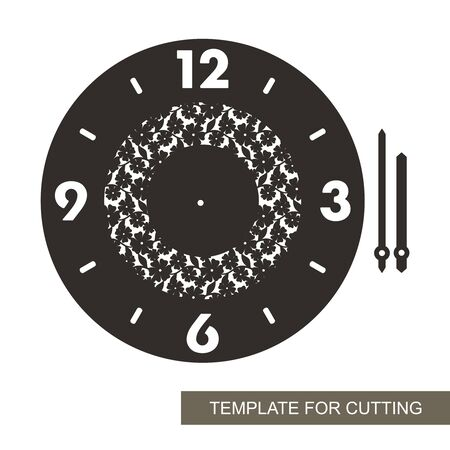 Round wall clock with an openwork pattern of flowers and leaves in the middle. Black dial, arabic numerals, minute and hour hands. Vector template for laser cutting of paper, cardboard, plywood, wood. Ilustracja