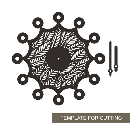 Unusual wall clock with openwork leaf ornament in the middle. Vector silhouette of the dial, hour and minute hands. Sample for laser plotter cutting of paper, cardboard, plywood, wood, metal.
