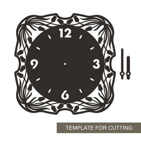 Wall clock square shape with a floral pattern of tulips and leaves and arabic numerals on a white background. Vector silhouette of the dial, minute and hour hand. Template for laser cutting, engraving
