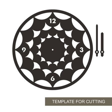 Round black wall clock with geometric abstract pattern and arabic numerals. Vector silhouette of the dial, minute and hour hand. Template for laser cutting of paper, cardboard, plywood, wood or metal. 矢量图像