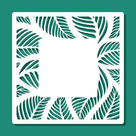 Square frame with a floral pattern of leaves and a place for text (copy space) in the center. White object on a green background. Vector design template for laser cutting of paper, cardboard, plywood.
