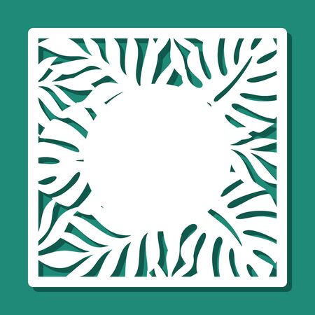 Square frame with a pattern of tropical leaves and copy space in the middle. White object on a green background. Template for laser cutting, metal engraving, wood carving, paper cut. Vector image. 矢量图像