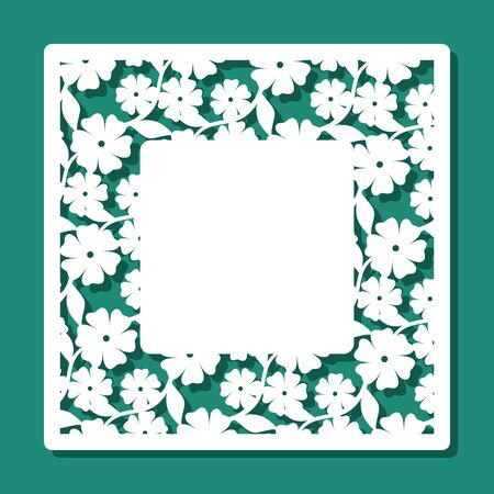 Square frame with a floral pattern of flowers and leaves and a place for text (copy space) in the middle. Template for laser cutting, wood carving, plywood or metal. Vector illustration.