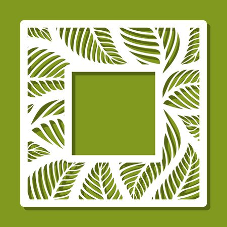 Square photo frame with floral pattern of leaves. White object on a green background. Template for laser cutting, metal engraving, wood carving, plywood, cardboard, paper cut or printing. Vector.