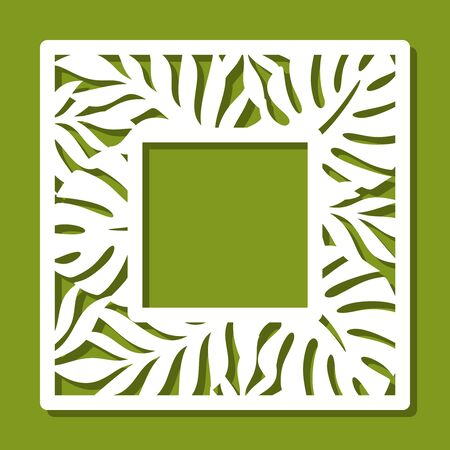 Square photo frame with a pattern of tropical leaves. White object on a green background. Template for laser cutting, metal engraving, wood carving, plywood, cardboard, paper cut. Vector illustration.
