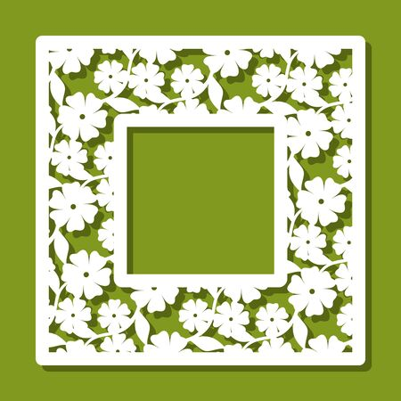Square photo frame with floral pattern. White object on a green background. Template for laser cutting, metal engraving, wood carving, plywood, cardboard, paper cut or printing. Vector illustration.