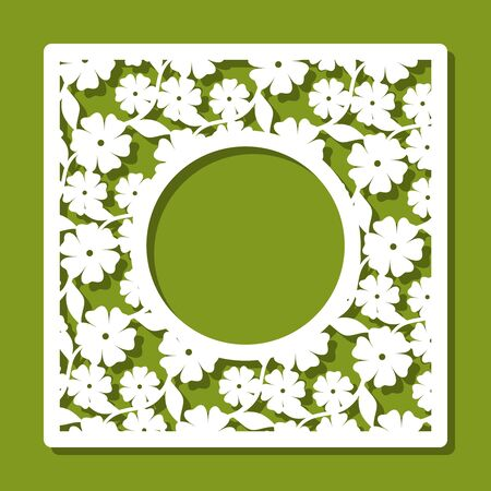 Square photo frame with a pattern of flowers and leaves. White object on a green background. Template for laser cutting, metal engraving, wood carving, plywood, cardboard, paper cut, printing. Vector.
