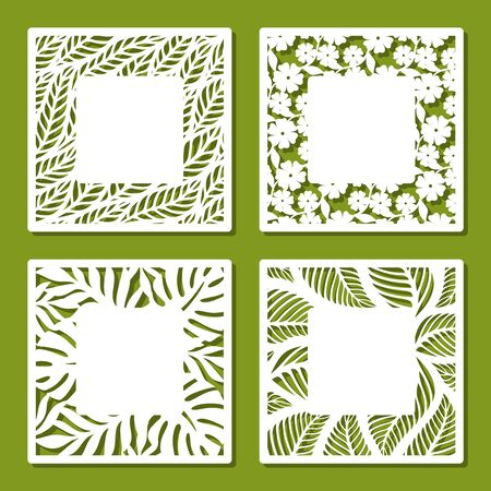 Set of square frames with openwork floral pattern of flowers and leaves. Copy space in the middle. Template for plotter laser cutting of paper, metal, plywood, wood (cnc). Vector illustration.
