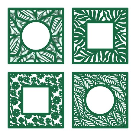 Set of square photo frames with openwork floral pattern of flowers and leaves. Copy space in the middle. Template for plotter laser cutting of paper, metal, plywood, wood (cnc). Vector illustration.