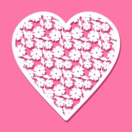 Openwork heart of flowers and leaves, cut out of paper. Cute Valentine on February 14 or wedding. White object on a pink background. 矢量图像