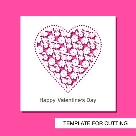 Square card with carved openwork heart of flowers and leaves. Greeting card, invitation or congratulation for Valentine's Day or wedding. Vector template for laser plotter cutting or printing. 矢量图像