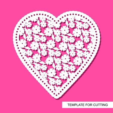 Openwork heart of flowers and leaves, cut out of paper. Cute Valentine February 14 or wedding. Silhouette white object on a pink background. Template for plotter laser cutting. Vector illustration.