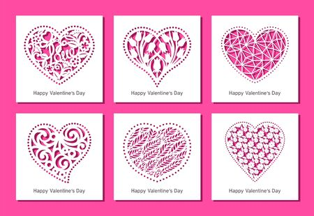 Set of square greeting cards with carved openwork hearts with floral and geometric patterns. Gift, invitation or congratulation for Valentine's Day. Template for plotter cutting out of paper. Vector.
