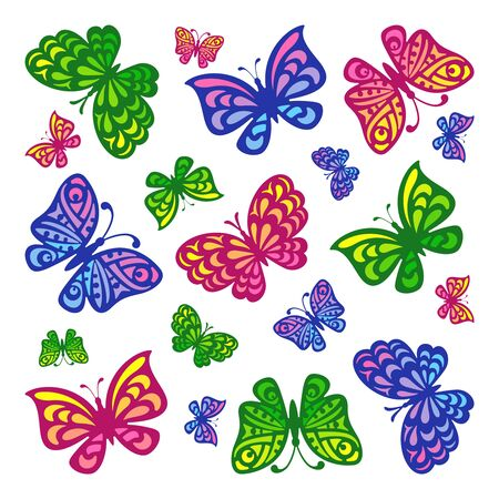 Multi-colored butterflies flying in different directions on a white background. Cartoon style. Square vector illustration.