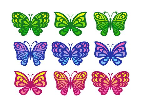 Set of butterflies on a white background. The gradient pattern of the wings is yellow-green, blue-pink and red-orange. Cartoon style. Vector illustration.