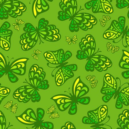 Bright seamless pattern with butterflies in yellow-green colors. Square endless texture for summer or spring web wallpapers, fabrics, textiles, backgrounds, tiles. Vector illustration. Ilustração