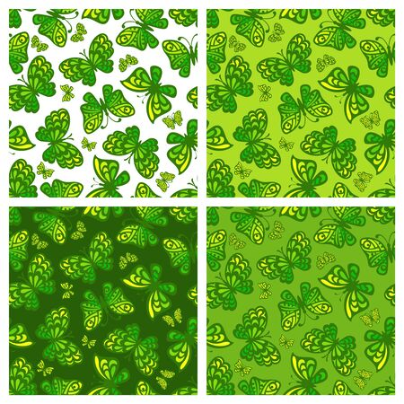 Set of square seamless patterns with butterflies. Different shades of green on a white and dark background. Summer or spring theme. Vector repeating texture for the design of wallpaper or fabrics. Ilustracja