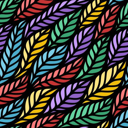 Seamless pattern with red, blue, green, yellow and purple leaves. Bright multi-colored texture with beautiful dark waves for wallpapers, fabrics, web backgrounds, textiles, paper. Vector illustration.
