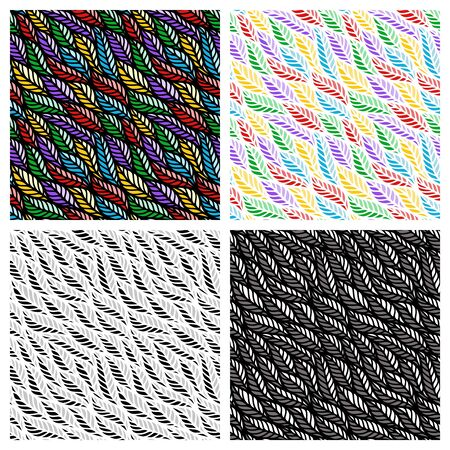 Set of seamless patterns with wave of leaves. Colorful, monochrome and black and white colors. Endlessly repeating texture for web backgrounds, wallpapers, fabrics, wrapping paper, textiles or tiles. Ilustracja
