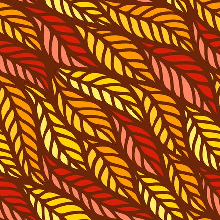 Bright autumn seamless pattern with leaf fall in yellow, orange, red colors. Flowing waves of spikelets with a brown outline. Texture for fabric, web backgrounds, wallpaper, textile or wrapping paper.