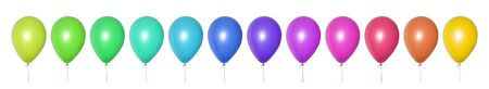 Set of bright multi-colored balloons of all shades arranged in a row. Objects on a white background. Festive decoration for a children's birthday, wedding or party. Long horizontal collage or banner. Imagens