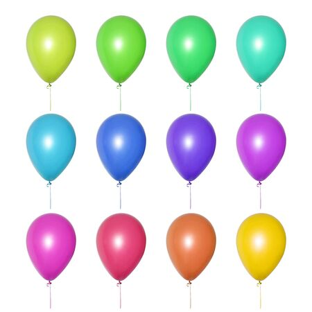 Set of bright multi-colored balloons of all shades, arranged in three rows. Isolated objects on a white background. Festive decoration for a children's birthday, wedding or party. Collage or banner.