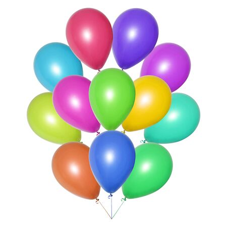 Bunch of colorful balloons of all shades, tied together. Isolated object on a white background. Festive decoration for a children's birthday, wedding or party. Collage or banner. Imagens