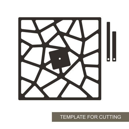 Unusual square wall clock with an abstract geometric pattern. Dial without numbers, minute and hour hands. For a stylish interior. Vector template for laser cutting of paper, wood, plywood, metal.