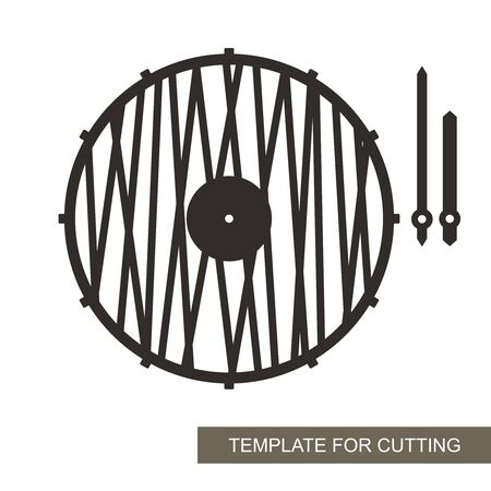 Unusual round wall clock in a minimalistic modern style. Dial without numbers, pattern of straight lines, minute and hour hands. Vector template for laser cutting of paper, wood, plywood, metal (cnc). 矢量图像