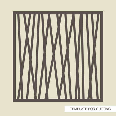 Square frame with a geometrical, modern, abstract pattern of straight lines. Template for laser cutting (cnc), wood carving, paper cut or printing. Vector illustration.