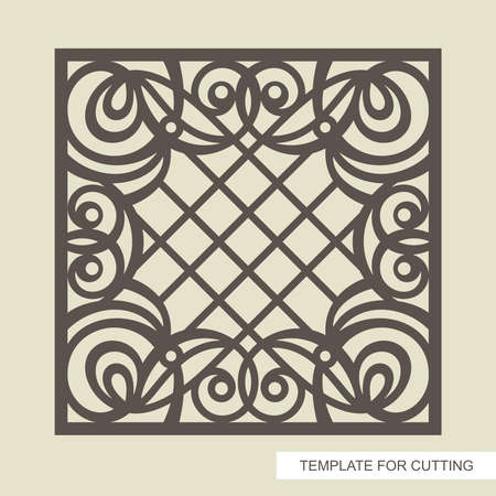 Square frame with a beautiful openwork pattern and a lattice in the center. Template for laser cutting (cnc), wood carving, paper cut or printing. Vector illustration.