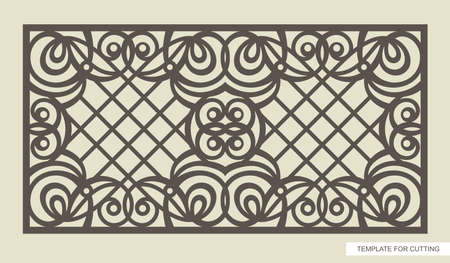 Rectangular frame with a beautiful openwork pattern and a lattice inside. Template for laser cutting (cnc), wood carving, paper cut or printing. Vector illustration.