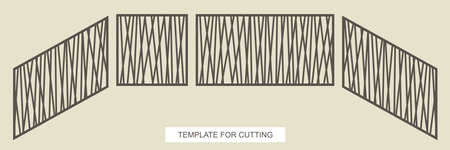 Stair railings - square, rectangular and diagonal (top to bottom). A gate or fence with an abstract stylish pattern of straight lines. Vector template for laser plotter cutting metal, wood, plywood.