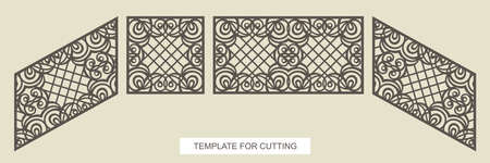 Stair railings - square, rectangular and diagonal (top to bottom). A gate or fence with lace ornament and lattice in the center. Vector template for laser plotter cutting metal, wood, plywood (cnc).