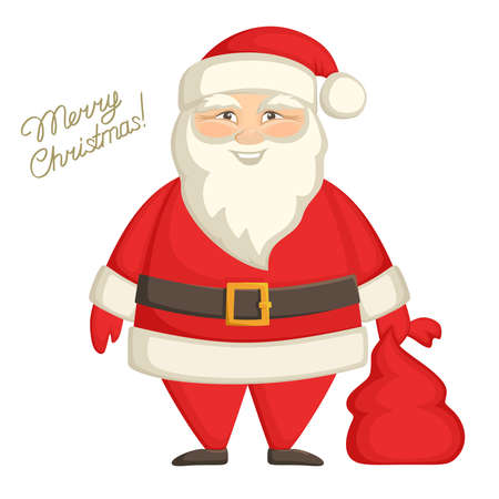 Cheerful Santa Claus with a red bag in his hands. Cute festive cartoon character isolated on white background. Greeting card with the inscription Merry Christmas. Vector illustration.