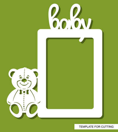 Kids rectangular photo frame with a teddy bear, a butterfly and the inscription - baby. Ratio 2: 3. Template for laser plotter cutting (cnc) of paper, plastic, metal, plywood, wood. Vector illustration