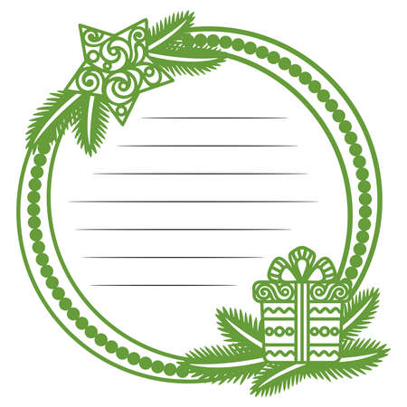 Green Christmas frame with lines for text in the center. Decorative template for holiday greetings, invitations, cards. Christmas tree branches, lace star and gift box with bow. Vector illustration.