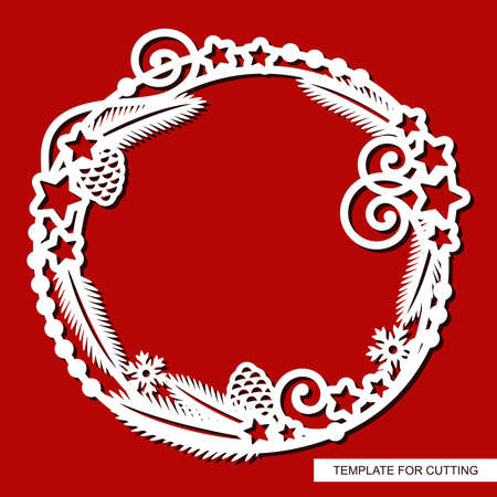 Cute round Christmas frame. Decoration of fir branches, cones, stars, garlands, snowflakes. New Year's theme. Vector template for plotter laser cutting (cnc) of paper