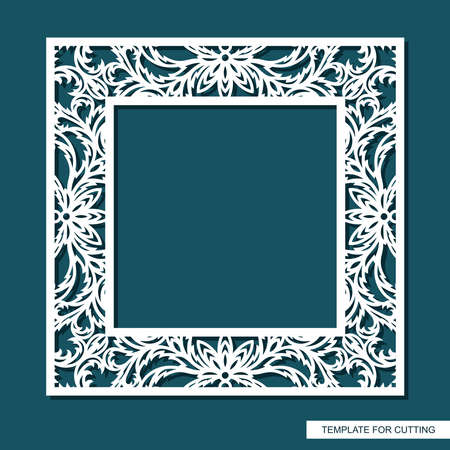 Square frame for photos, pictures, mirrors. Openwork lace pattern, oriental floral ornament of leaves, curls. Template for plotter laser cutting (cnc) of paper, cardboard, plywood, wood carving, metal