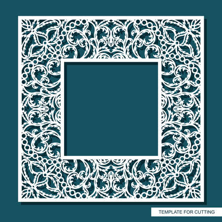 Square frame for photos, pictures, mirrors. Openwork lace pattern, oriental floral ornament of leaves, curls. Template for plotter laser cutting (cnc) of paper, cardboard, plywood, wood carving, metal 向量圖像