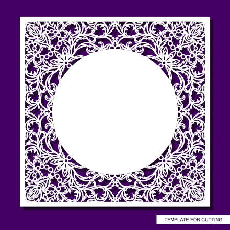 Beautiful square frame with lace border and place for text. Openwork floral pattern from leaves. Blank for cards, wedding invitations, certificates. Template for plotter laser cutting (cnc). Vector.
