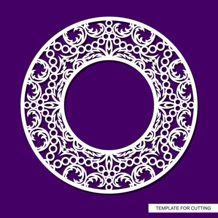 Round frame for photos, pictures. Openwork lace pattern, oriental floral ornament of leaves, curls. Template for plotter laser cutting of paper, cardboard, plywood, wood carving, metal engraving, cnc. 矢量图像