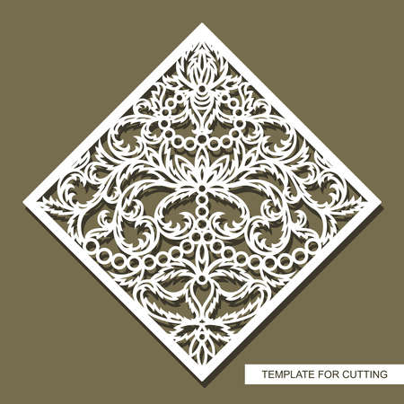 Element with floral ornaments. An ornate pattern of leaves, rings and flowers. The shape is a square rhombus. Isolated white object on brown background. Vector template for plotter laser cutting.
