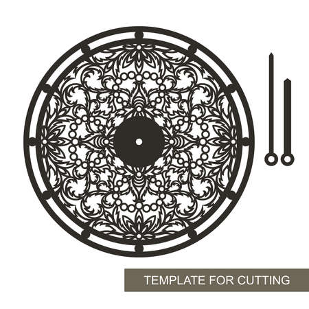 Openwork dial with floral ornament without numbers. Round hours, lace pattern, hour and minute hands. Vector template for plotter laser cutting (cnc) of paper, cardboard, plywood, wood carving, metal.