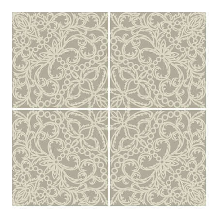 Floor or wall tile design. Classic openwork floral ornament made of thin leaves and flowers. Calm gray-beige colors of the pattern and background. 矢量图像