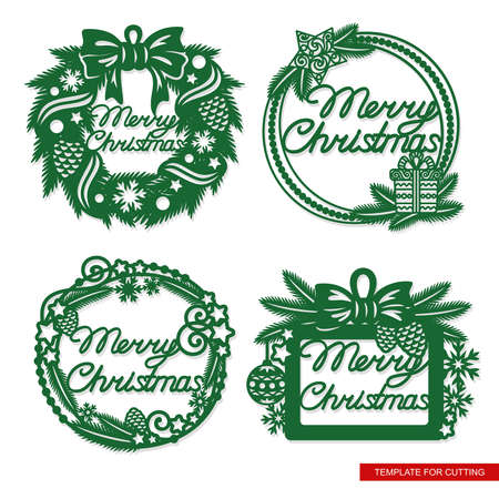 Set of festive frames with text - Merry Christmas. Decoration of fir branches, cones, bows, balls, stars.